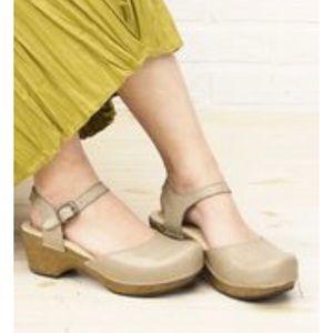 Dansko Leather Ankle Strap Clog Shoes